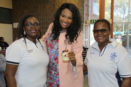 Celebrity chef Siba Mtongana (middle) with Professor Unathi Kolanisi, UNIZULU Consumer Science Department HoD (left) and Nomfundo Nxele, Consumer Science Department Administrative Secretary (right) at the event.