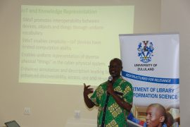 Pictured: Professor Tom Kwanya, Associate Professor and acting Director at the School of Information and Communication Studies at the Technical University of Kenya. Here, Prof Nkwanya was delivering his keynote address on Enhancing Knowledge Representation Through Semantic Web of Things at the UNIZULU 18th Information Studies Conference 2017.