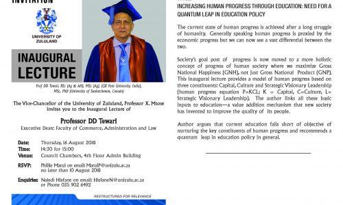 PROF Tewari-INAUGURAL LECTURE INVITATION