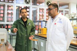 Dr Malik Khan (left) pictured with his research partner Professor Neerish Revaprasadu during one of their lab sessions
