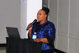 Nokuthula Ndaba from UNIZULU's Student Teaching Practum delivering her keynote address during the recent Life Orientation Educators Seminar held in Newcastle, KwaZulu-Natal.